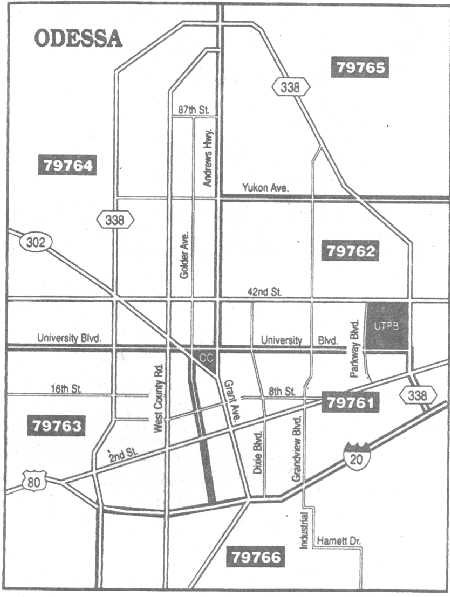 Odessa Map with Zip Code Areas Showing