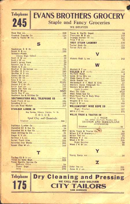 phone book page. Odessa Phonebook page 4 1934 Odessa Phone book page 4. Courtesy: Texana Ranch middot; Thank you, Robert McSpadden